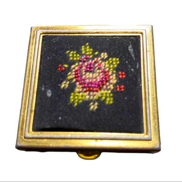 Vintage Embroidered Pill Box Rose Gold Small Box